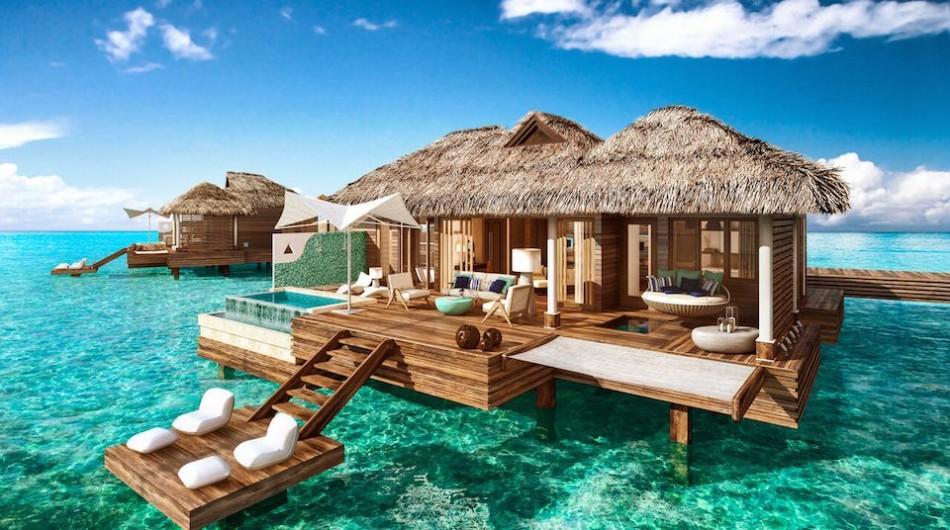 cabaña en el agua en jamaica